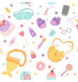 cute kawaii pattern for girls in flat style vector image