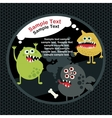 Cute monsters banner with bone vector image vector image