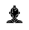 face microcircuit black glyph icon vector image