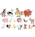 farm animals decorative icons set isolated vector image