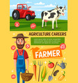 farmer on farm cow and tractor vector image