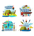 fisherman fishing with rod boat and net vector image vector image