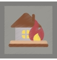 flat shading style icon fire house vector image vector image
