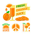 fresh orange juice badge emblems vector image