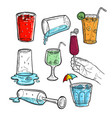 hand drawn sketch of fresh juice wine and cool vector image