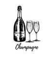 hand sketched champagne bottle and two glasses vector image vector image