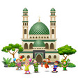 happy islamic kids cartoon playing in front of a m vector image vector image