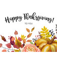 happy thanksgiving floral greeting postcard card vector image vector image