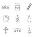 jewelry collection icon set outline style vector image vector image