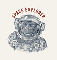 monkey astronaut in a spacesuit label chimpanzee vector image