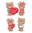 pairs of soft fluffy teddies holds heart with text vector image