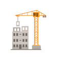 panel house construction with crane residential vector image