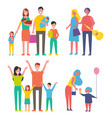 people families icons set vector image