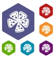 Pizza rhombus icons vector image vector image