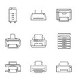 political journalism icons set outline style vector image