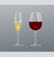 realistic glasses champagne and wine isolated vector image vector image