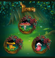 set items for shadowy forest gui vector image vector image