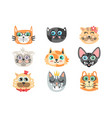 set of funny cartoon cats heads cats different vector image vector image