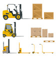 set of orange forklifts with cardboard box vector image