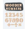 set of wooden numbers vector image vector image