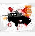 squad rides by car and shoots vector image vector image