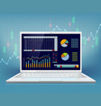 stock market data on laptop screen vector image vector image