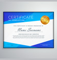 stylish blue geometric certificate template design vector image vector image