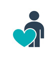 user profile with heart colored icon charity vector image vector image