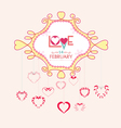 valentine with hearts postcard vector image vector image