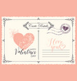 vintage valentine card with heart and inscriptions vector image