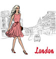 woman walking in london vector image vector image