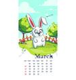 2021 calendar march funny cartoon rabbit vector image