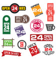 24 hour service icon element set vector image