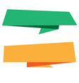 banner green orange origami style banner template vector image