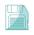 blue shading silhouette of floppy disk vector image vector image