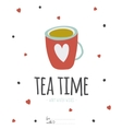 Bright cup of tea Greeting card vector image