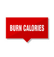 burn calories red tag vector image vector image