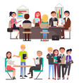 business meeting among young employees of company vector image vector image