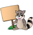 cartoon racoon holding wooden board vector image