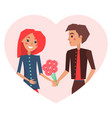 couple in love and bouquet vector image