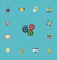 flat icons coin bulb support and other vector image vector image
