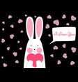 happy rabbit - valentine s day vector image vector image