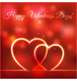 happy Valentines greeting card hearts red blurred vector image vector image