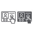 intercom telephone line and glyph icon vector image vector image
