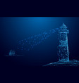 lighthouse searchlight beam through yacht in the vector image