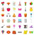 magic hat icons set cartoon style vector image