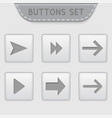 menu buttons with arrows white 3d interface icons vector image