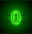 neon city font sign number 0 signboard zero vector image vector image