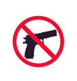 no guns sign with pistol silhouette no shooting vector image vector image
