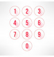 Numbers in circles set in modern flat design vector image vector image